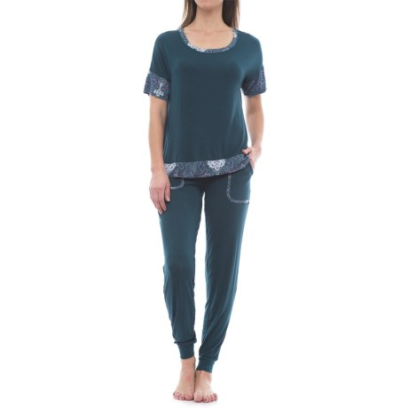Ink+Ivy Twin Pocket Joggers and Shirt Pajamas - Short Sleeve (For Women)
