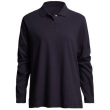 Interlock Cotton Polo Shirt - Long Sleeve (For Women) in Indigo - 2nds