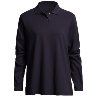 Interlock Cotton Polo Shirt - Long Sleeve (For Women) in Indigo