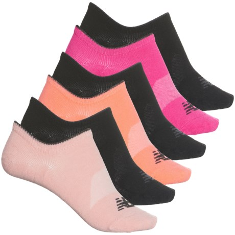 Invisible Liner Socks - 6-Pack, Below the Ankle (For Women) - PINK/BLACK (M ) -  New Balance
