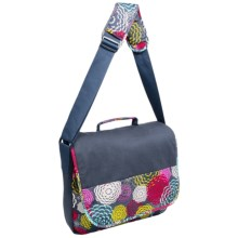 """Iota Chic Laptop Messenger Bag - 17"""" in Bloomin - Closeouts"""