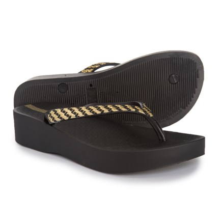 05247dc29d774b Ipanema Mesh Plat Wedge Flip-Flops (For Women) in Black Gold