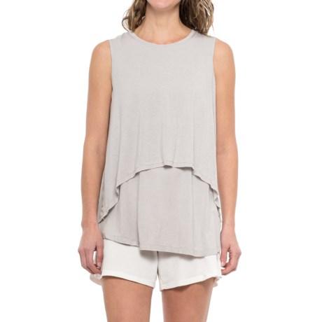 iRelax Layered Slub-Jersey Lounge Shirt  - Sleeveless (For Women) in Visng Falling Snowflakes