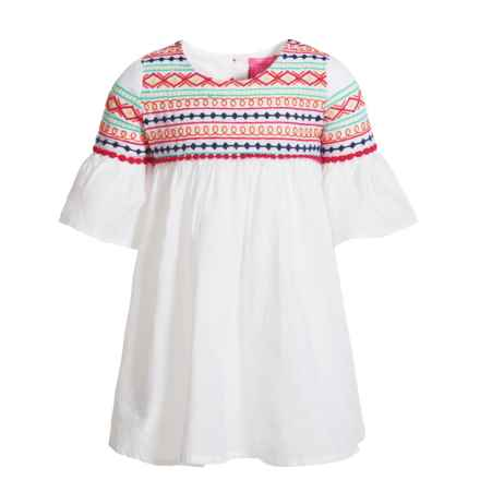 Isaac Mizrahi Bell-Sleeve Embroidered Dress - 3/4 Sleeve (For Toddler Girls) in White - Closeouts