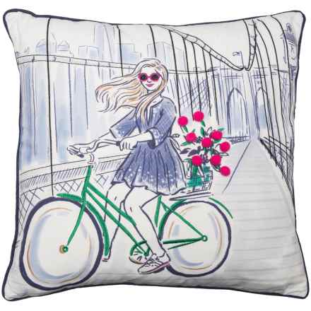 "Isaac Mizrahi Brooklyn Biker Throw Pillow - 20x20"", Feathers in Blue/Navy - Closeouts"