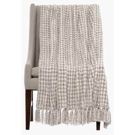 "Isaac Mizrahi Chenille Houndstooth Throw Blanket - 50x70"" in Ivory/Grey - Closeouts"