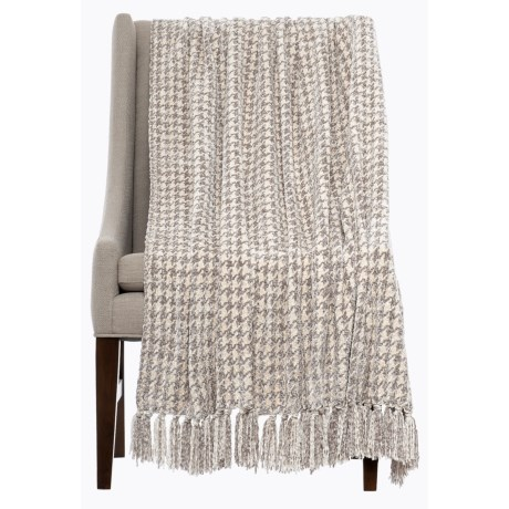 "Isaac Mizrahi Chenille Houndstooth Throw Blanket - 50x70"" in Ivory/Grey"