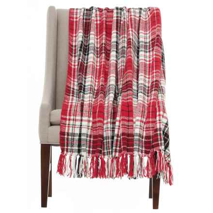 "Isaac Mizrahi Chenille Plaid Throw Blanket - 50x60"" in Red - Closeouts"