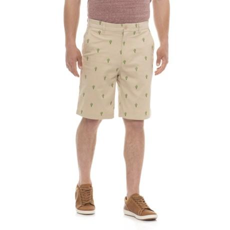 Isaac Mizrahi Embroidered Cactus Critter Shorts (For Men) in Khaki