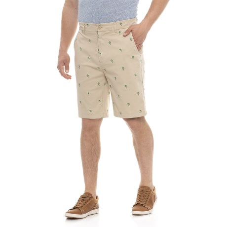 Isaac Mizrahi Embroidered Palm Tree Critter Shorts (For Men) in Khaki