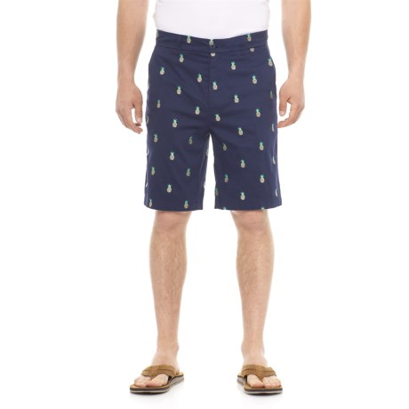Isaac Mizrahi Embroidered Pineapple Critter Shorts (For Men) in Navy
