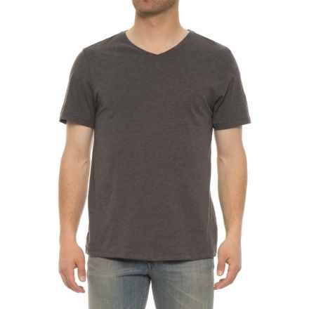 Isaac Mizrahi Heathered V-Neck Shirt - Short Sleeve (For Men) in Charcoal Heather - Closeouts