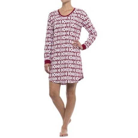 Isaac Mizrahi HO HO HO Sleep Shirt - Long Sleeve (For Woman) in Red/White