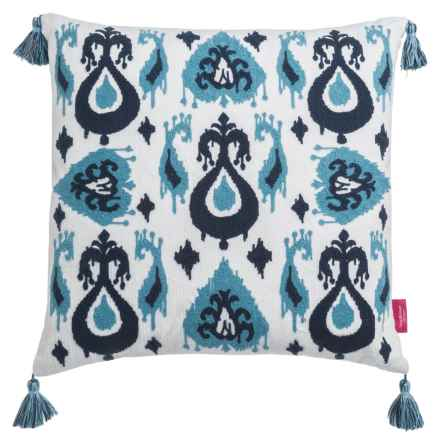 "Isaac Mizrahi Ikat Patchwork Decor Pillow - 20x20"", Feathers in Light Blue/Blue - Closeouts"