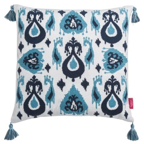 "Isaac Mizrahi Ikat Patchwork Decor Pillow - 20x20"", Feathers in Light Blue/Blue"