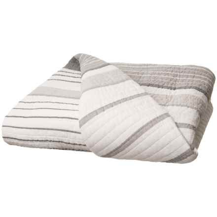 Isaac Mizrahi Mizrahi York Stripe Quilt - Full-Queen in Grey - Closeouts
