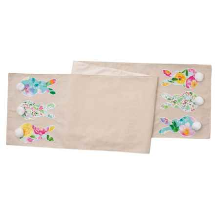 """Isaac Mizrahi Multi Linen Floral Bunny Trio Table Runner - 14x72"""" in Multi Linen - Closeouts"""