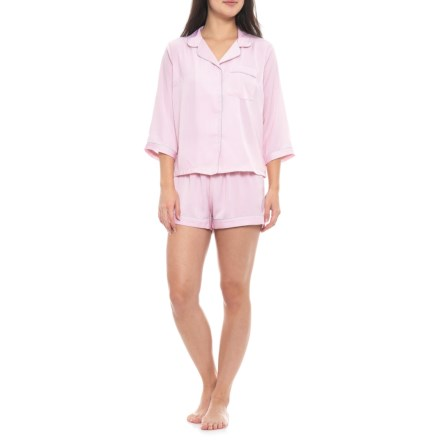 36611bcd1be5 Isaac Mizrahi Pinstripe Notch Collar Shorty Pajamas - Long Sleeve (For Women)  in Pink
