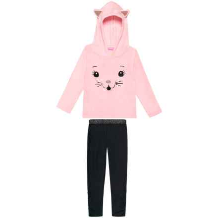 Isaac Mizrahi Plush Cat Face Hoodie and Leggings Set - 2-Piece (For Little and Big Girls) in Crystal Rose - Closeouts