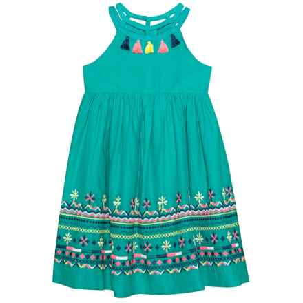 Isaac Mizrahi Strappy Embroidered Dress - Sleeveless (For Little and Big Girls) in Green - Closeouts