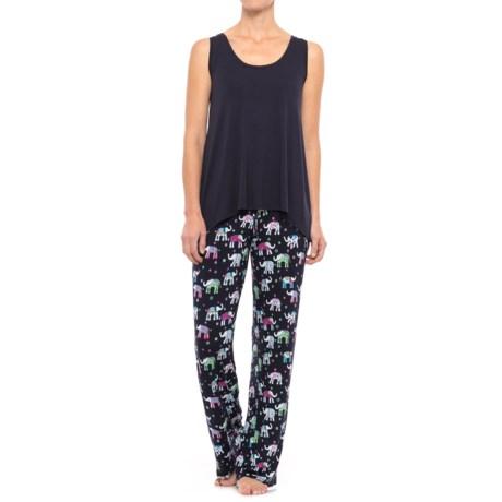 Isaac Mizrahi Swing Tank Top and Pants Pajamas (For Women) in Navy/Enchanted Elephant Pop