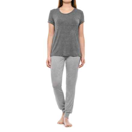 Isaac Mizrahi T-Shirt and Joggers Lounge Set - Short Sleeve (For Women) in Medium Heather Grey/White Cream - Closeouts
