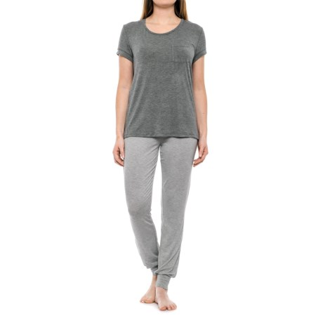 Isaac Mizrahi T-Shirt and Joggers Lounge Set - Short Sleeve (For Women) in Medium Heather Grey/White Cream