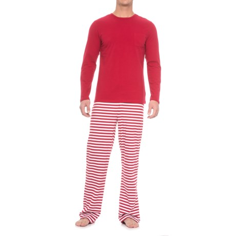 Isaac Mizrahi Weekend Shirt and Striped Pants Pajamas - Long Sleeve (For Men) in Red/White
