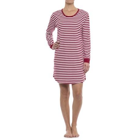 Isaac Mizrahi Weekend Striped Sleep Shirt - Long Sleeve (For Woman) in Red/White