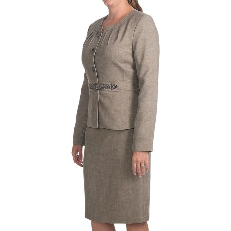 Isabella Cross-Dye Skirt Suit (For Women) in Taupe