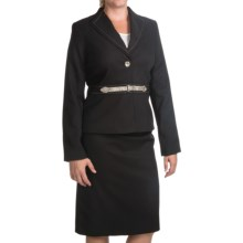 Isabella Cross-Dye Skirt Suit - Reptile Button and Belt (For Women) in Black - Closeouts