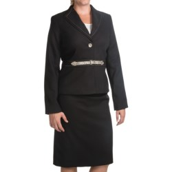 Isabella Cross-Dye Skirt Suit - Reptile Button and Belt (For Women) in Black