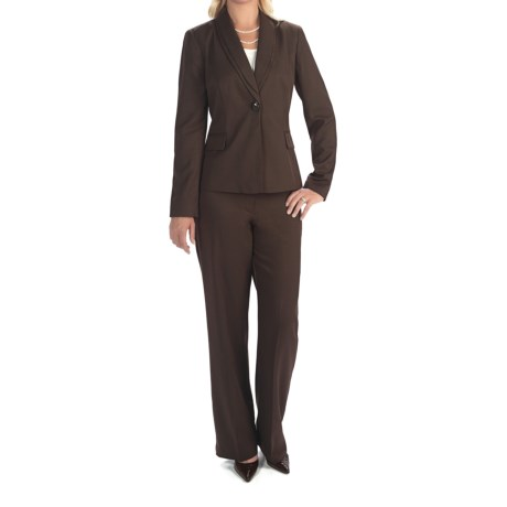 Isabella Double-Collar Pant Suit (For Women) in Brown Melange