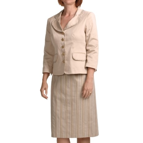 Isabella Metallic Skirt Suit - Stretch Cotton (For Women) in Tan/Multi