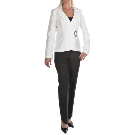 Isabella Pleated-Jacket Pant Suit (For Women) in White/Black