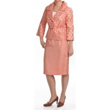 Isabella Pleated Skirted Suit -3/4 Sleeve (For Plus Size Women) in Melon - Closeouts