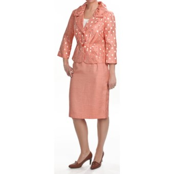 Isabella Pleated Skirted Suit -3/4 Sleeve (For Plus Size Women) in Melon