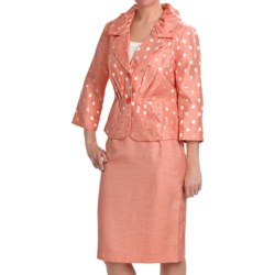 Isabella Pleated Skirted Suit - 3/4 Sleeve (For Women) in Melon