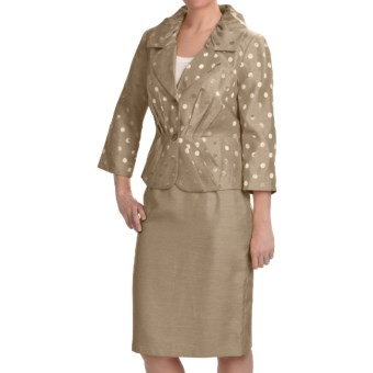 Isabella Pleated Skirted Suit - 3/4 Sleeve (For Women) in Taupe