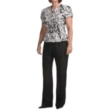 Isabella Printed Jacquard Crepe Pant Suit - Short Sleeve (For Plus Size Women) in Black/White - Closeouts