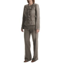 Isabella Ruffled Jacket Pant Suit (For Women) in Grey - Closeouts