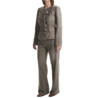Isabella Ruffled Jacket Pant Suit (For Women) in Grey