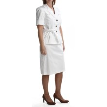 Isabella Safari Skirt Suit - Stretch Cotton (For Women) in White - Closeouts