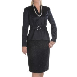 Isabella Satin-and-Sparkle Skirt Suit (For Women) in Midnight