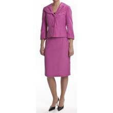 Isabella Skirted Suit - 3/4 Sleeve (For Plus Size Women) in Fuchsia - Closeouts