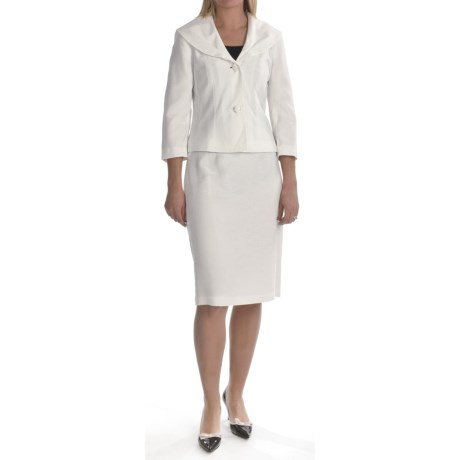 Isabella Skirted Suit - 3/4 Sleeve (For Women) in Cream