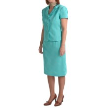 Isabella Skirted Suit - Floral Jacquard (For Plus Size Women) in Turquoise - Closeouts