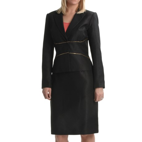 Isabella Textured Dobby Suit (For Women) in Red