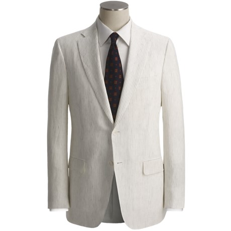 Isaia Beaded Stripe Suit - Linen (For Men) in Off White/Black