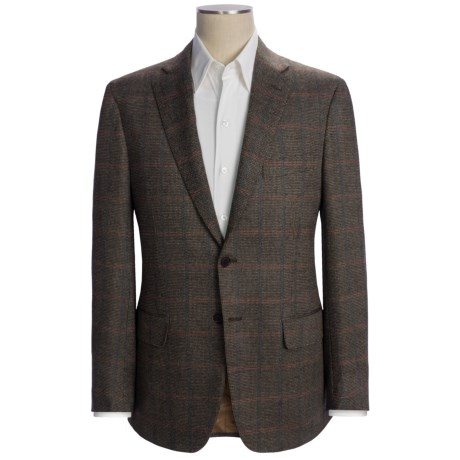 Isaia Birdseye Sport Coat with Windowpane Overlay - Wool (For Men) in Brown/Red/Blue